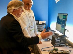 Editor John Blyler and CAST CEO Nikos Zervas discuss Automotive TSN Ethernet with the demo system at DAC.