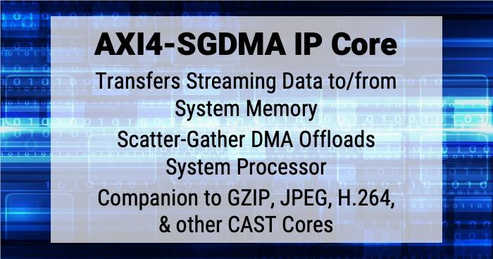 CAST AXI4-SGDMA Streaming to.from memory scatter-gather DMA IP core